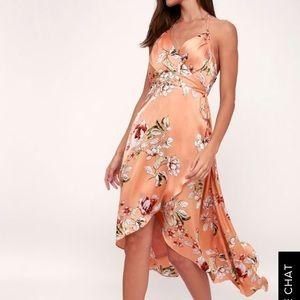 Lulus Peach Floral Satin Hi-Low Wrap Dress